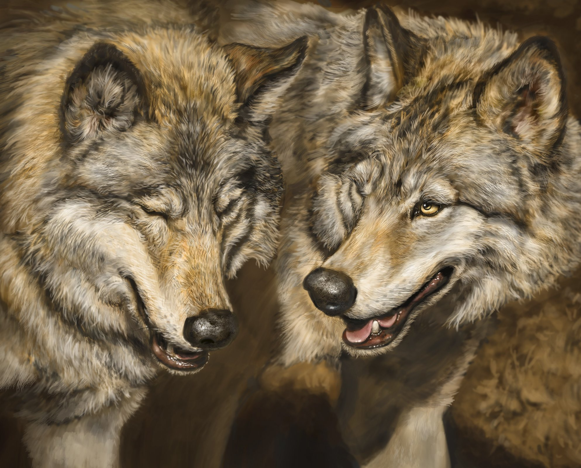 Two Wolves 3982 Panel
