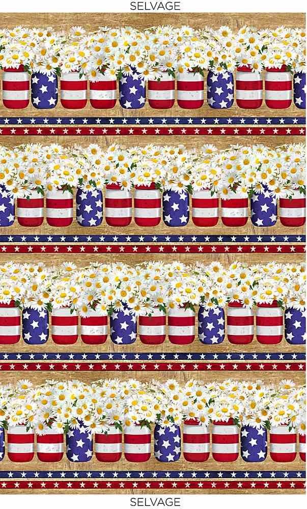 Patriotic Flowers in Jars C8366 Stripe