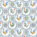 *EOB* Morning Bloom 5797 Medallion Blue Roosters - 0.68 YD