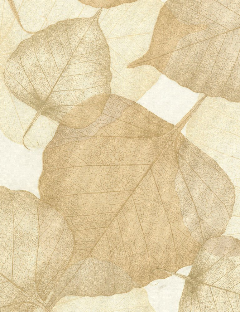 END OF BOLT Cream Leaves C1053 XFlora 108 Wide - .56 YD