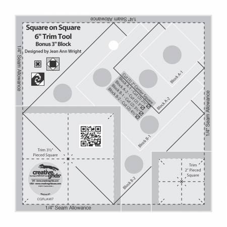 Creative Grids Square on Square 6 Trim Tool Ruler