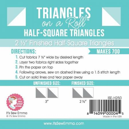 Triangles On A Roll - 2.5 Half Sq Tri Block Grid