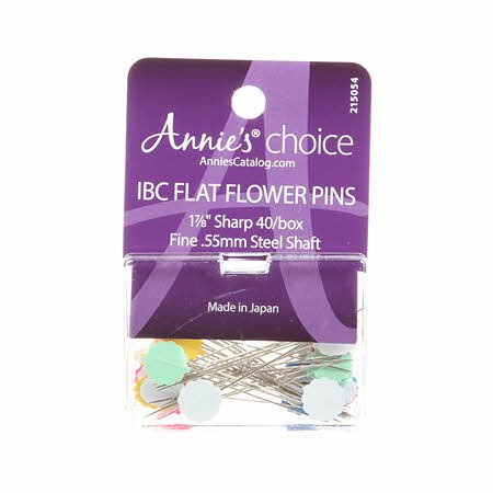Annie's Choice IBC Flower Head Plastic Flat Pin Size 30 - 1 7/8in 40ct
