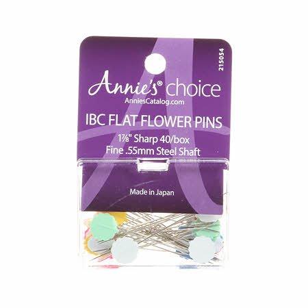 Annie's Choice IBC Flower Head Plastic Flat Pin Size 30 - 1 7/8in 40ct