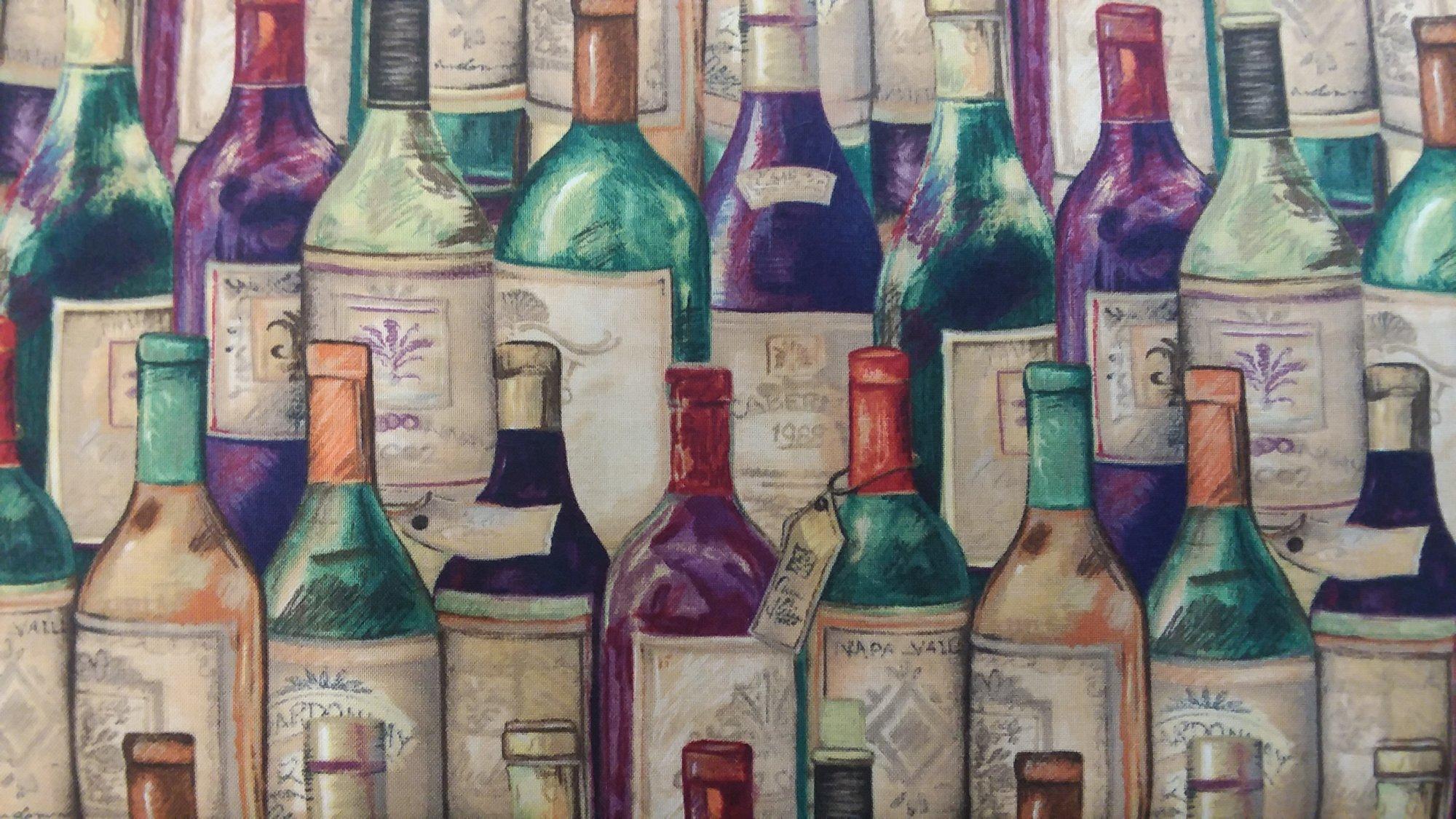 Susan Winget -Wine Bottles Fabric