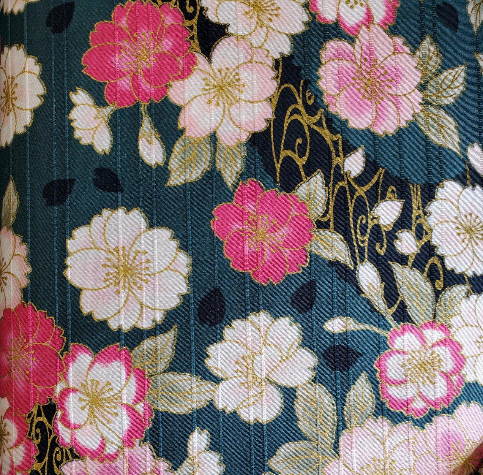 Japanese Spring - Pink Flowers on Teal