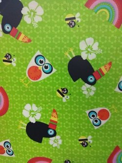 Studio E Sunshine Day   owls and tucan on Green Background