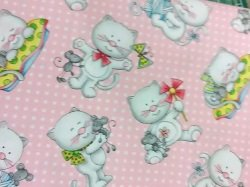 Miss Kitty's Cats on Pink *Clearance*
