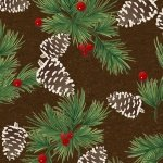 Flannel-green pinecones *Clearance*