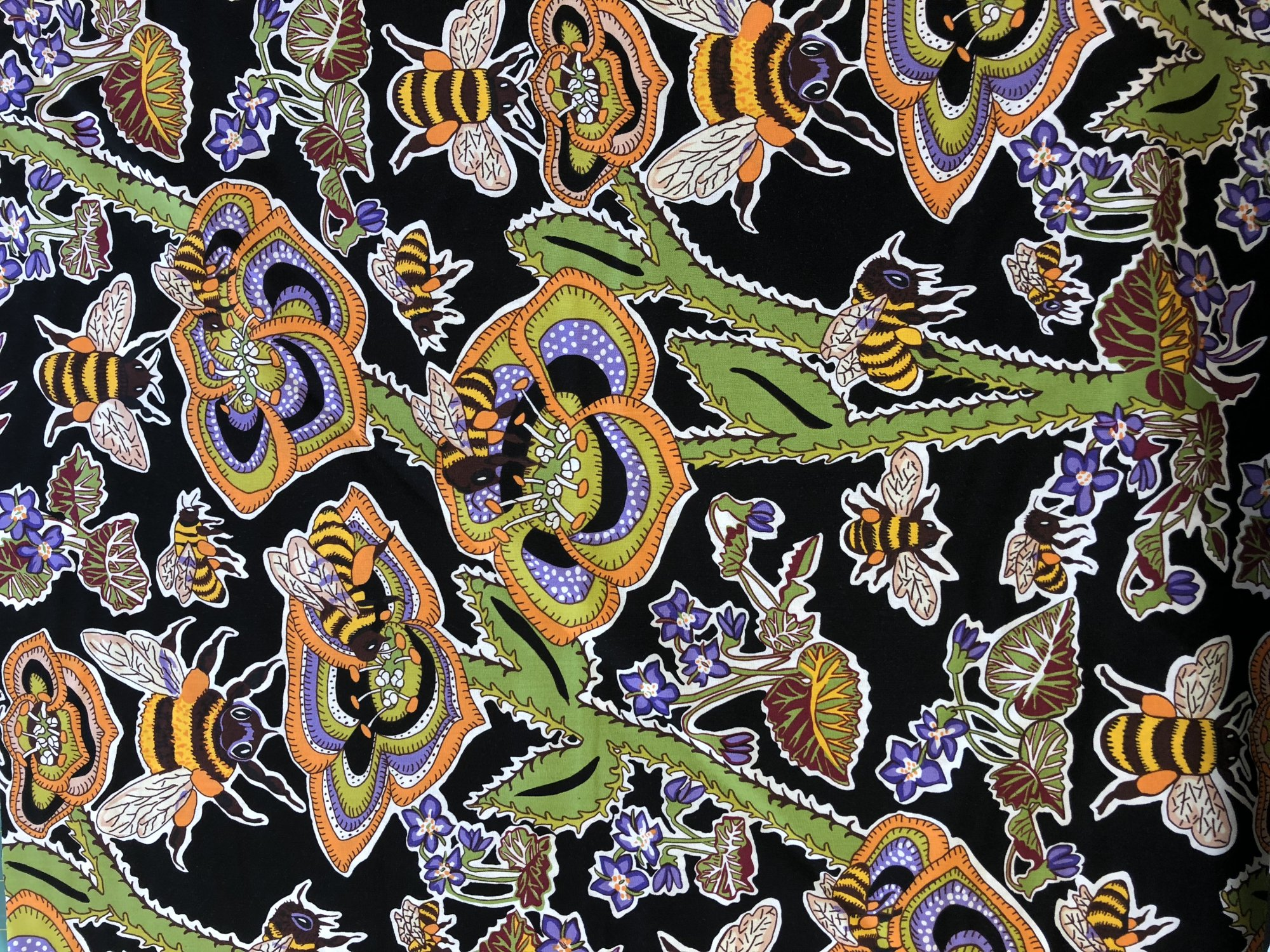 Terrie Mangat Bees and Violets Black