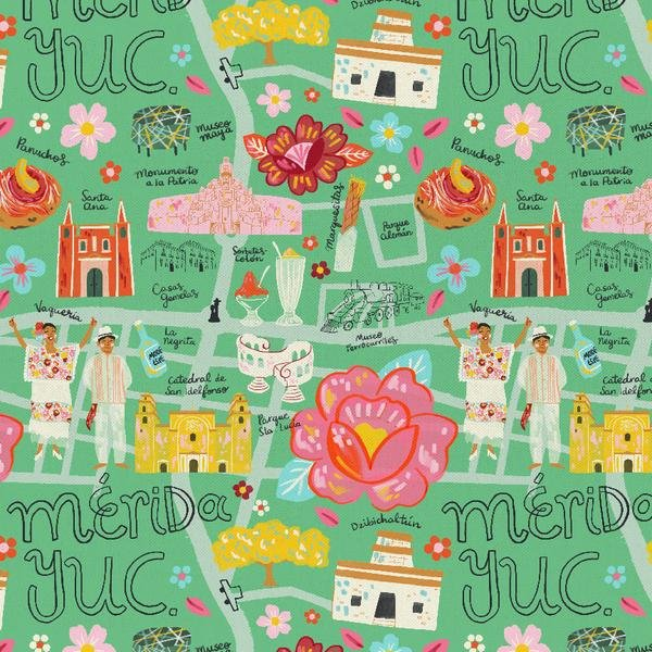 Viva Mexico Map Green