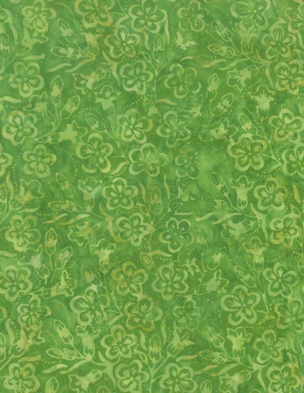 Log-arithm Packed Blossoms Green Batik Fabric