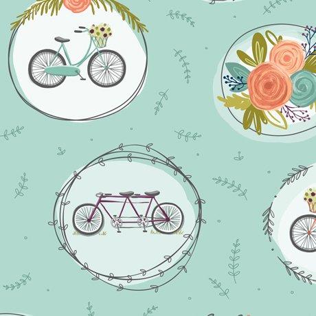Scenic Route Bike & Floral Medallions Aqua