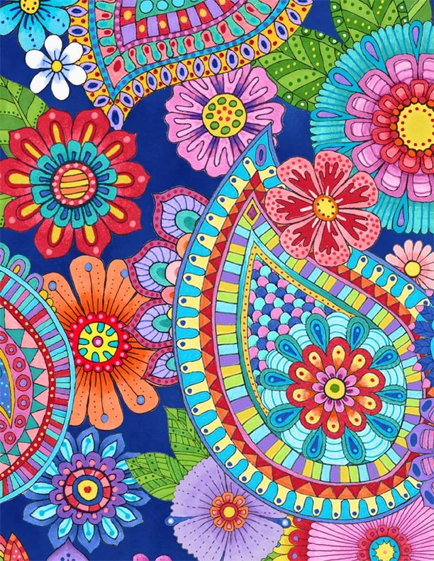 Live out Loud Packed Floral and Paisley Blue Fabric