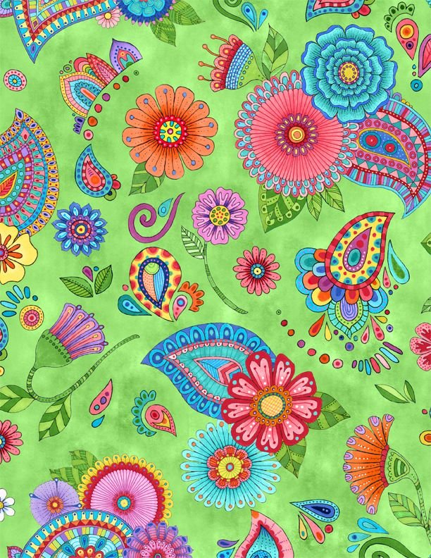 Live out Loud Large Green Floral Fabric