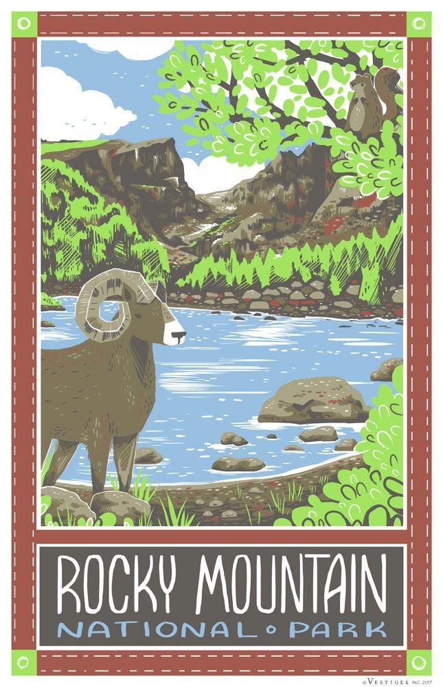 National Park Rocky Mt. Kitchen Towel