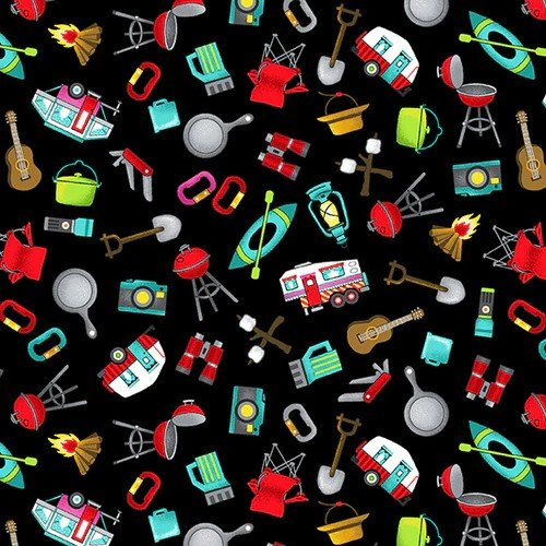 Roaming Holiday Black Tossed Campsite Icons