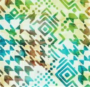 Teal/Green Houndstooth Patterned Batik