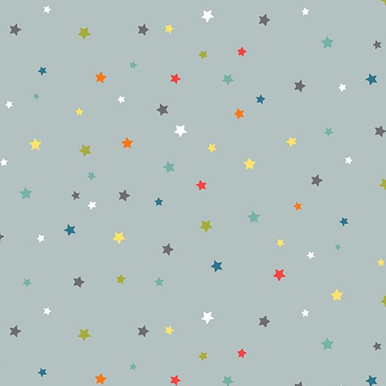 Outer Space by Makower UK Multi Star in Grey