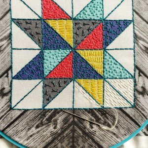 Cozy Blue Barn Quilt Embroidery Kit