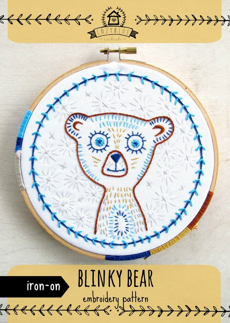 Cozy Blue Blinky Bear Iron On Embroidery Pattern