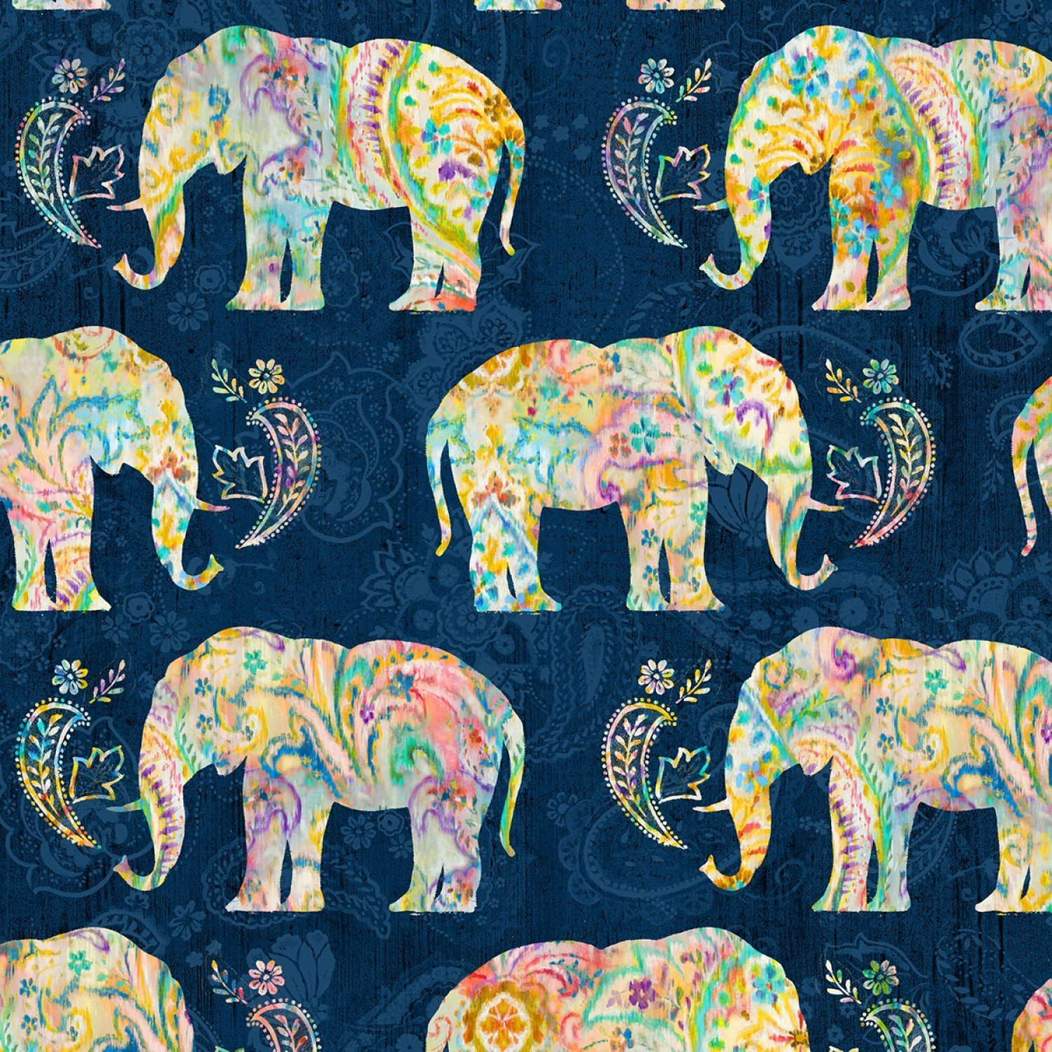 Bohemian Dreams Elephants Navy