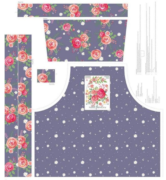 Poppy and Posey Garden Apron Panel - Amethyst