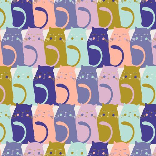Catitude Slumber by Oh, Meow Fabric
