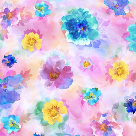 Charlene Spaced Watercolor Floral Pink Fabric