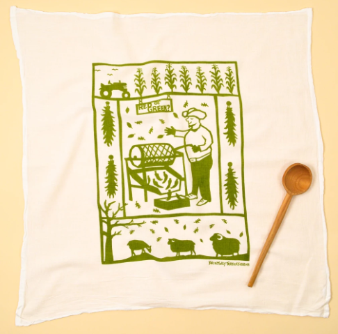 Flour Sack Dish Towel: Chile Roaster, Green