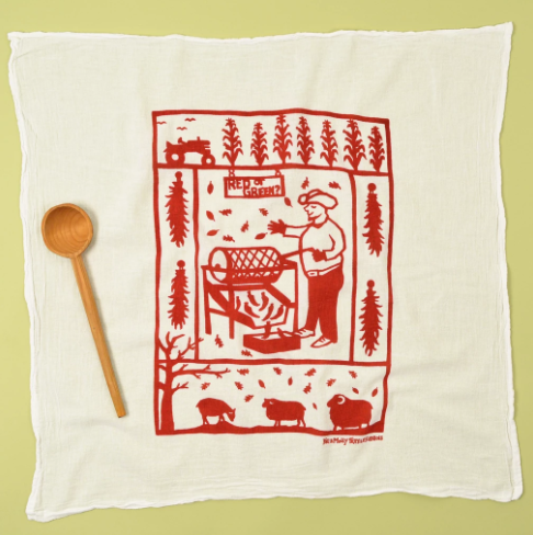 Flour Sack Dish Towel: Chile Roaster, Red