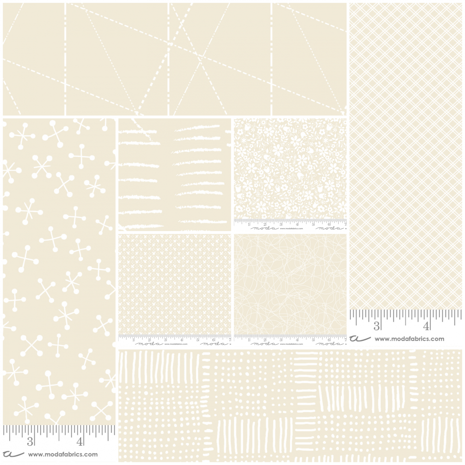 Whispers FQ Bundle of 8 - Muslin