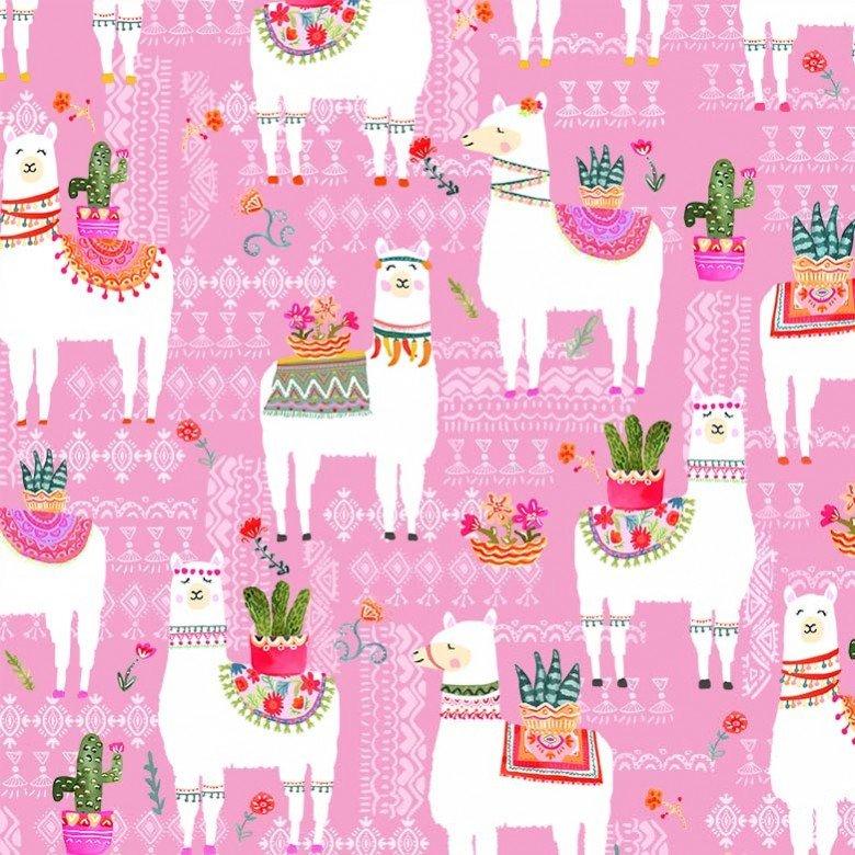 1/2 yd Remnant La Vida Loca La Llama Pink