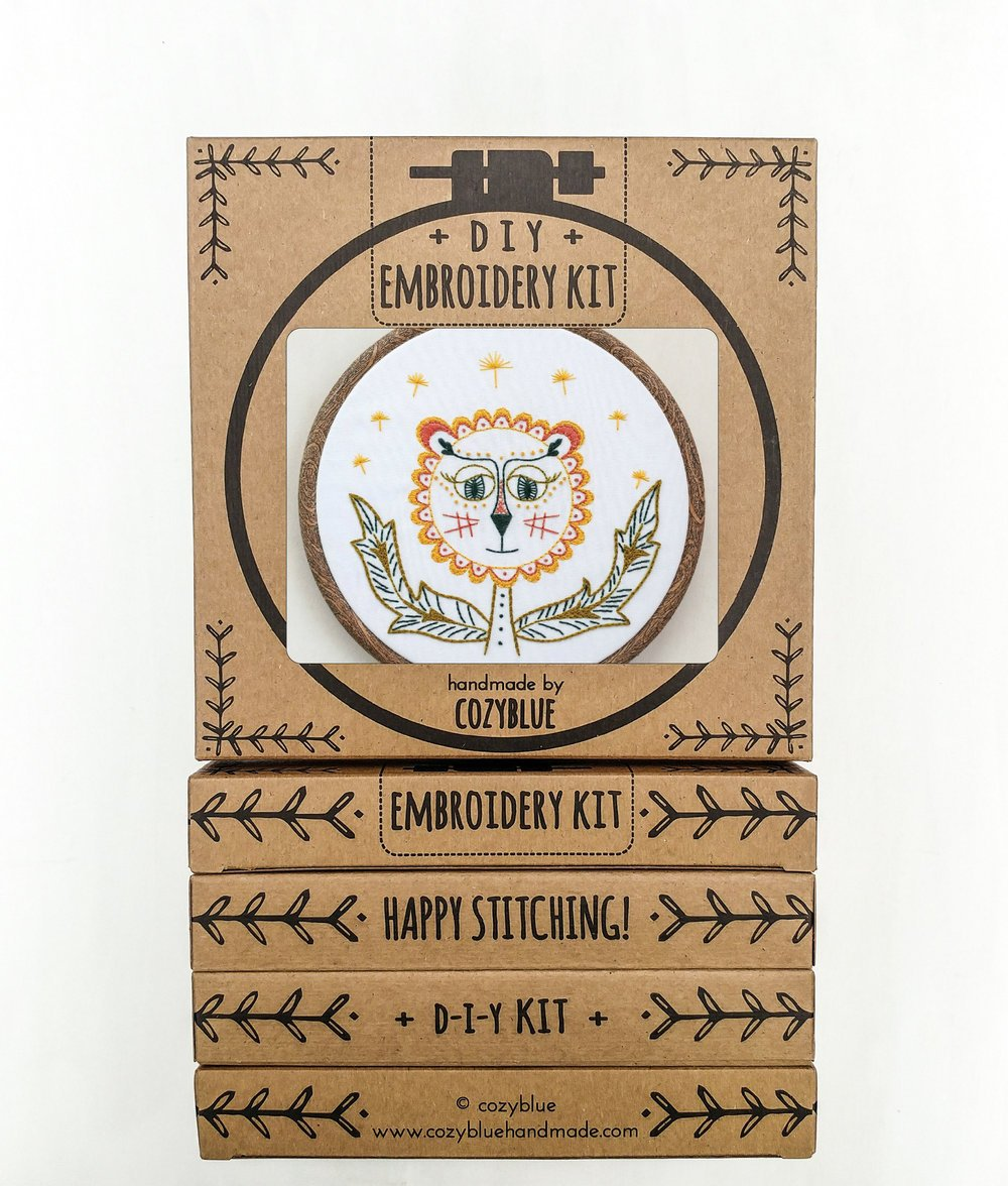 Cozy Blue Dandy Lion Embroidery Kit