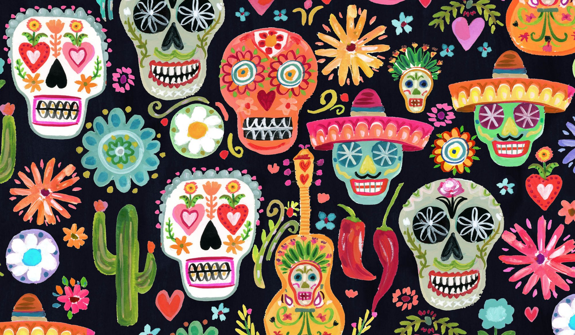 Viva Mexico Day of the Dead Multi Fabric
