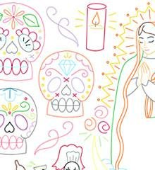 Dia De Los Muertos Iron On Transfer Pattern