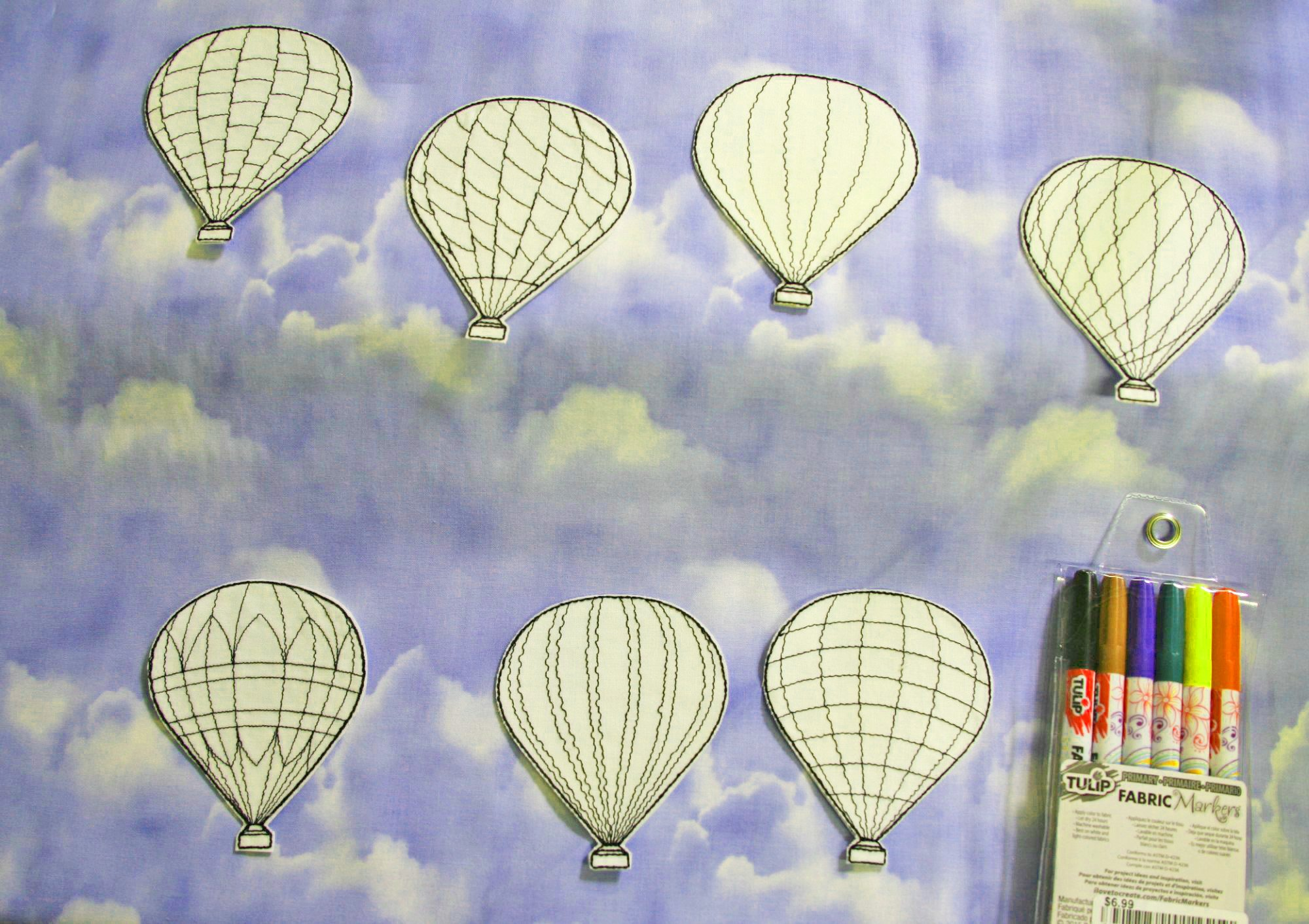 Hot Air Balloon Coloring Patches - pack of 7