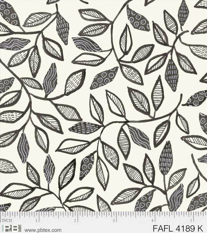 1/2 Yd. Remnant Farah Flowers Black White Abstract Flowers
