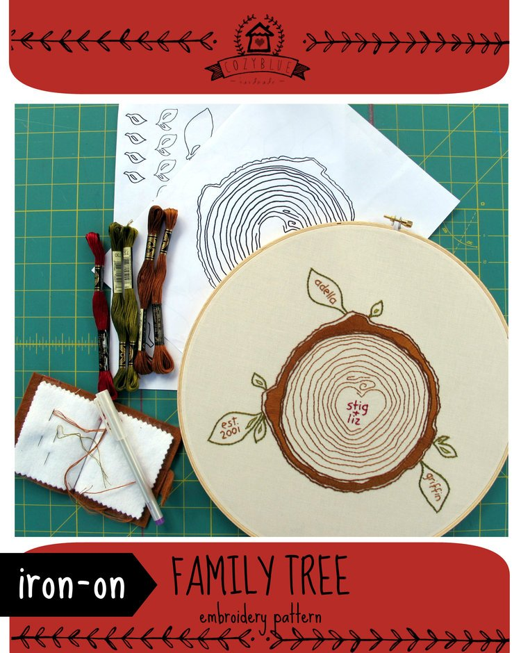 Family Tree Iron On Embroidery Pattern