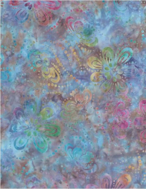 Star Links Floating Flowers Purple/Multi Batik