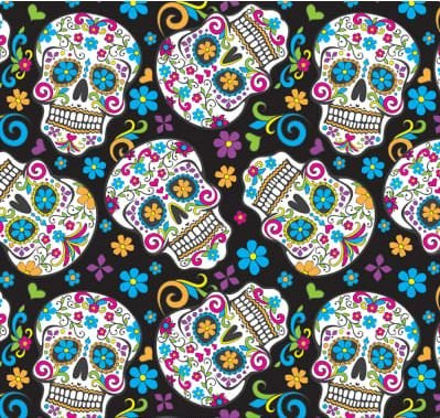 Folkloric Skulls Black 2/3 yard cut