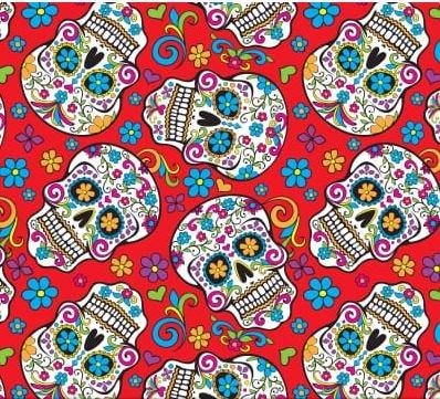Folkloric Skulls Red
