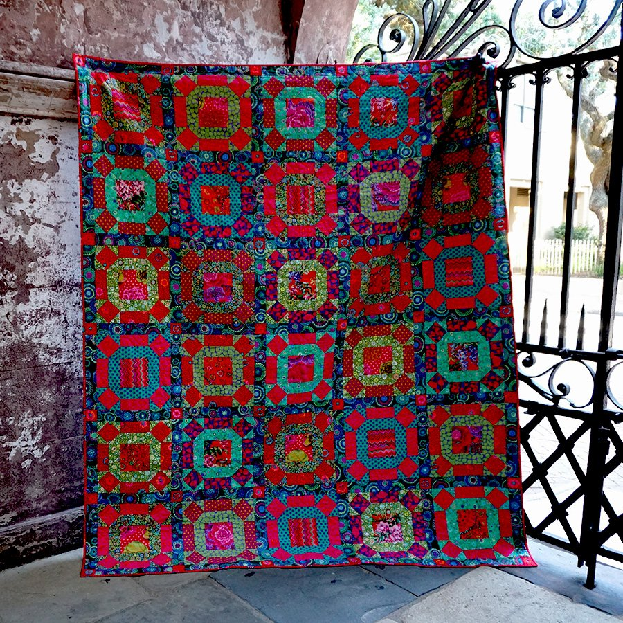 Gathering No Moss Quilt Kit by Kaffe Fassett - Gemstone Color Story - PREORDER Down Payment