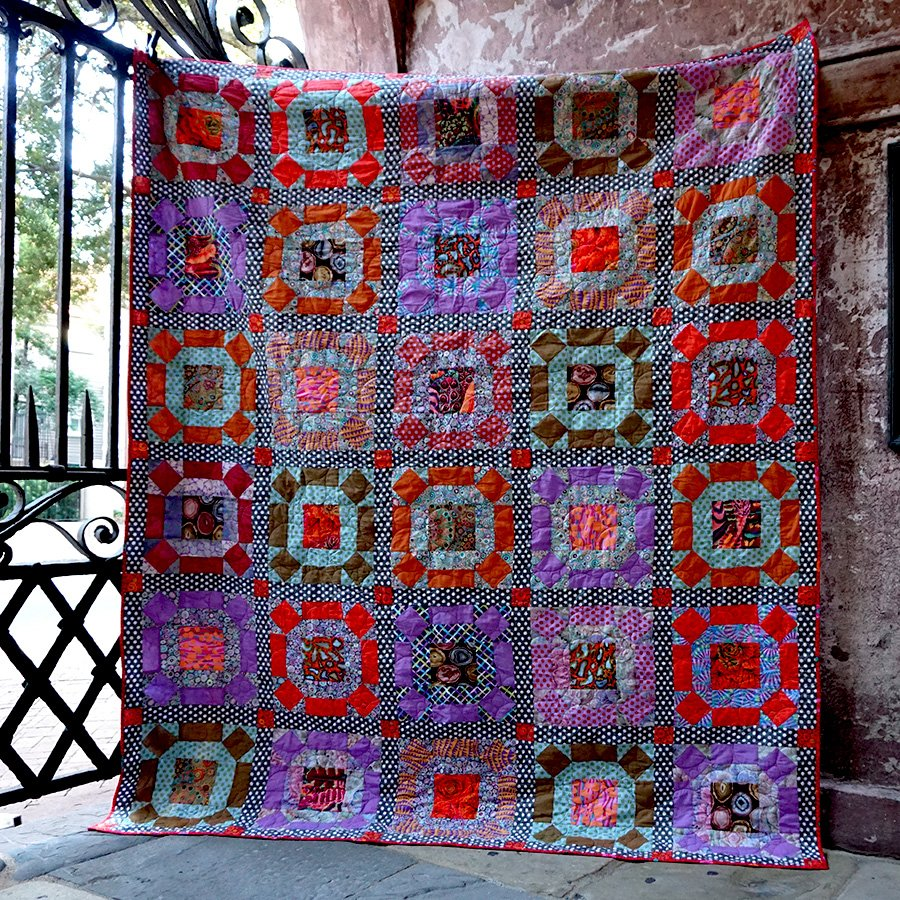 Gathering No Moss Quilt Kit by Kaffe Fassett - Smoke Color Story - PREORDER Down Payment