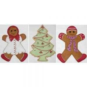 Gingerbread and Sugar Cookie Wool Felt Applique Kit