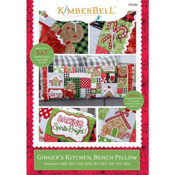 Ginger's Kitchen Christmas Bench Pillow