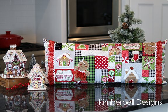 Kimberbell Ginger's Kitchen Christmas Bench Pillow Machine Embroidery CD