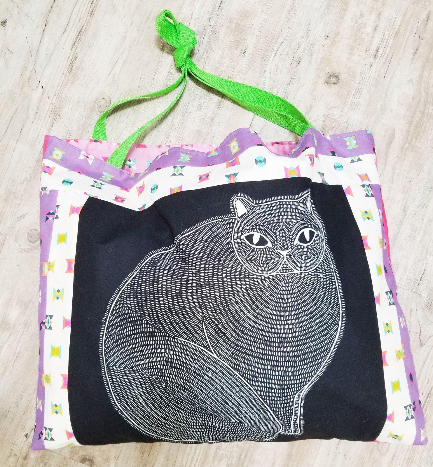 Gingiber Catnip Panel Bag + Pattern (Black)