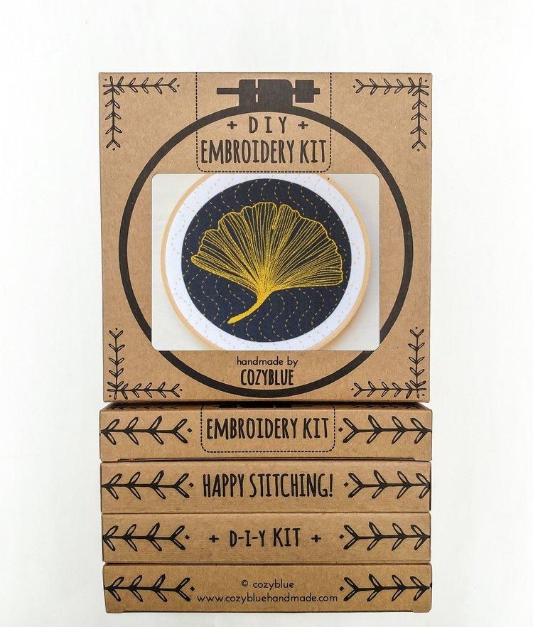 Cozy Blue Embroidery Kit Ginkgo