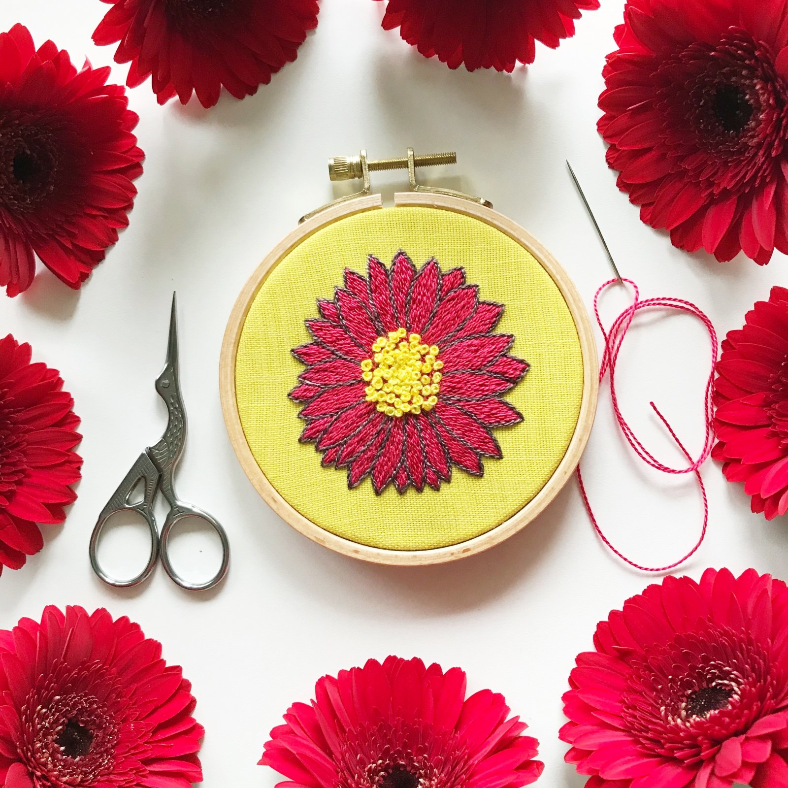 DIY Gorgeous Gerbera Embroidery Kit